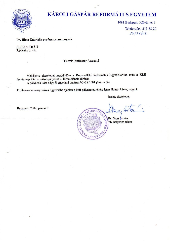 Dr. Nagy István mb. rektor kísérőlevele Hima professzornak