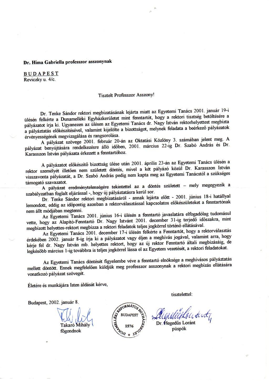 Hegedűs Loránt püspök levele Hima Gabriellának